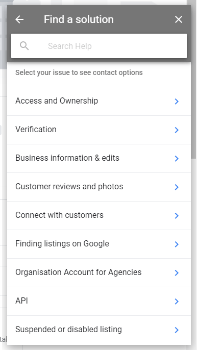 Google My Business - Support