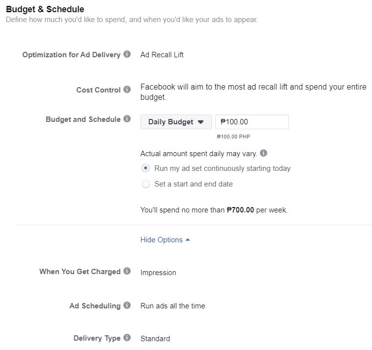 Instagram ad budget - Facebook Ads Manager